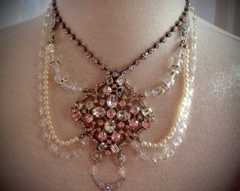 Bridal Brilliant Sparkling Crystal and Pearl Wedding Day Necklace