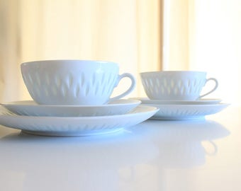 Exquisite Arabia Finland rice patterned cups saucers and dessert plates by Friedl Holzer-Kjellberg...