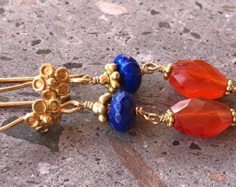 Long Gold Carnelian & Lapis Earrings, Vermeil Earrings, Dangle Stone Earrings, Orange and Blue Earrings, Wire Wrapped Gold Earrings
