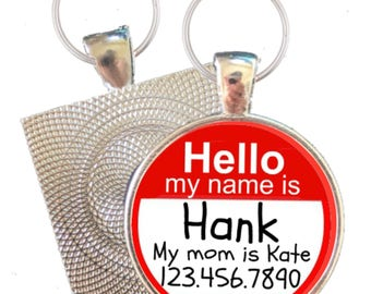 "Personalized Dog ID Pet Tag  ""Hello My Name Is"" Custom Pet Tag You Choose Tag Size & Colors"