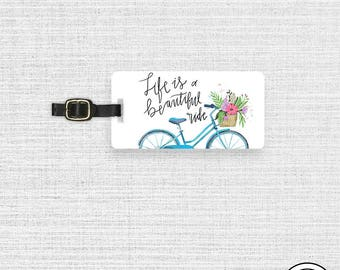 Luggage Tag Life is a Beautiful Ride Shabby Cottage Chic Bike Metal Luggage Tag  With Printed Custom Info On Back, Single Tag