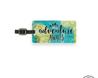 Luggage Tag Adventure Awaits Vintage Map Metal Luggage Tag  With Printed Custom Info On Back, Single Tag