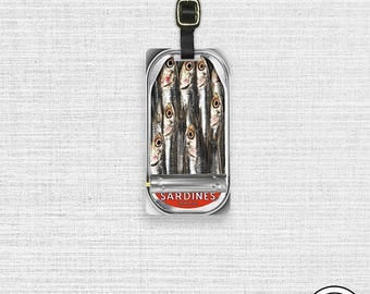 Luggage Tag Sardine Can Personalized Metal Luggage Tag, Single Tag   Custom information on Backs Choice of Straps
