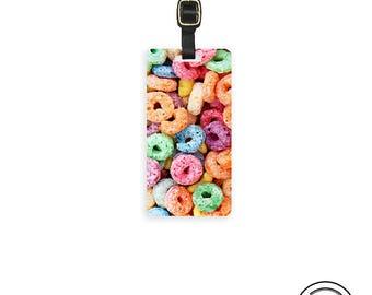 Luggage Tag Fruity Loop Ceral Funny Food ,  Personalized Metal Tag, Single Tag   Custom information on Backs Single Tag