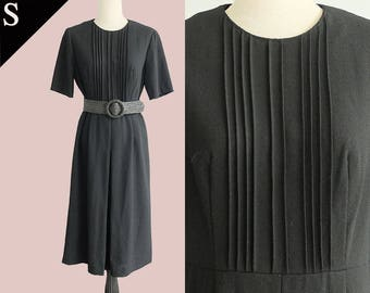 Japan 90s pintuck minimal career dress kick pleat vent / Black / Small