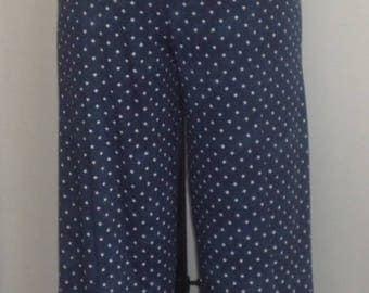 Coco Juan, Plus Size Pants, Lagenlook, Plus Size Capris, Navy Stars, Traveler Knit, Plus Size  Crop Pant, Women's Pant, Size 1 fits 1X, 2X