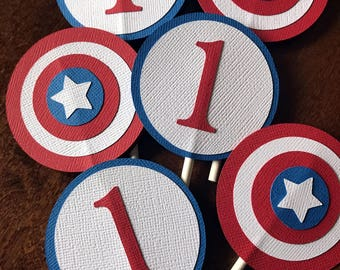 Captain America Cupcake Toppers, Superhero Cupcake Toppers, Superhero Birthday Party, Captain America Party, Boy Superhero Party, Set of 12