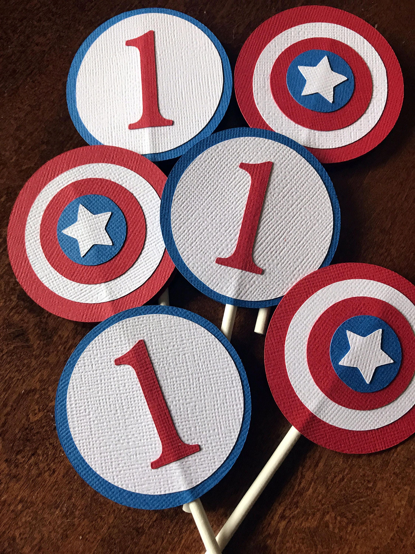 Captain America Cupcake Toppers Superhero Cupcake Toppers