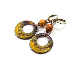 Handmade Hoop Earrings, Enameled Earrings, Orange and Mustard Earrings, Brass Earrings,Artisan Earrings, Boho Earrings,Yellow Earrings,E043
