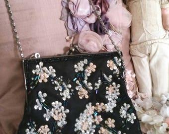 black beaded evening purse, victorian look, FABULOUS bead and sequin work, across body bag,
