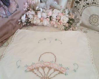 vintage doily, tea cosy, cross stitch embroidery, vintage home, shabby cottage, lace trims