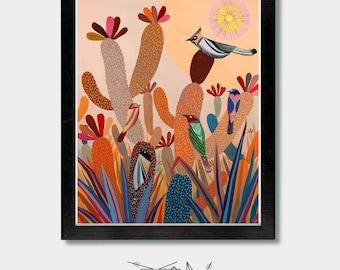 Cactus Art, The Day's End. Cactus Artwork, Bird Art, Arizona, Phoenix, Tucson, Mexican, Southwest, Colorful Art, Colorful Painting, Woodland