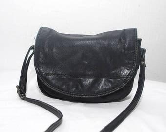 SALE...Small black leather bag. 80 leather bag. 70s purse. crossbody bag