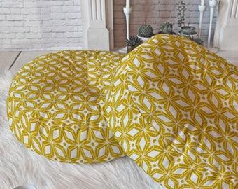 Yellow Geometric Floor Pillow // Round & Square // Midcentury Modern Living // Dorm Decor // Home Decor // Floor Cushion // Starburst Design