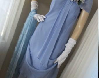 1920s Flapper Style Frock Orig Design Cornflower Blue Silk Chiffon Lovely Drape Size M