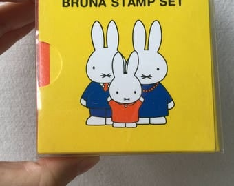 Rare Set for Collectors - Miffy Bruna Stamp Set Wooden Rubber Stamps - Kodomo no Kao Set of 4