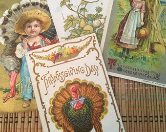 Set of Four--Vintage Holiday Postcard Assortment--Thanksgiving R-5