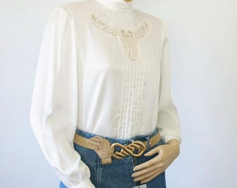 Blouse Creamy White 1980's Blouse Vintage Long Sleeve Victorian Style Silky Secretary Lace Top Size 4