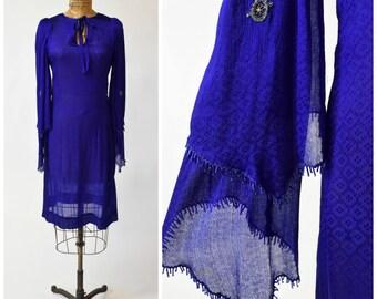 70s Authenticated Thea Porter Indigo Blue Silk Dress w Dramatic Beaded Fringe Flutter Sleeves // Bohemian Chic Designer Vintage