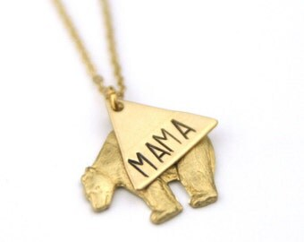 Gold Brass Mama Bear Necklace | My Tribe Necklace | Gift For Mom | Baby Shower Necklace | Geometric Bear Necklace | Mama Gift | Mom Necklace