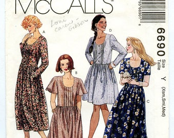 Vintage McCalls 6690 Women's Loose Fit 90s Boho Dress UNCUT Sewing Pattern Sizes XS S M 4-6 8-10 12-14 Bust 30 to 36