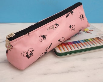 Personalised Pink Leather Ladybirds Pencil Case, pencil holder, pencil pouch, Gift for Her, New Term, Stationery, Back to school, Desk