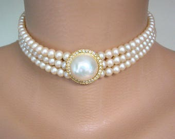 Vintage Pearl Choker, Sphinx, Vintage Bridal Choker, Pearl Necklace, Cream Pearls, 3 Strand Choker, Vintage Bridal Pearls, Great Gatsby