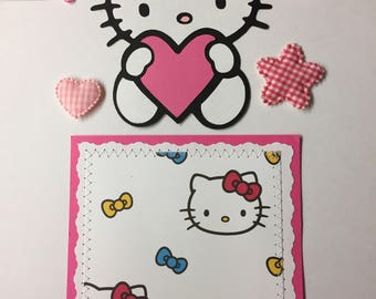 Premade HELLO KITTY Pink Paper Piecing Photo Mat Set For Scrapbook Album Page
