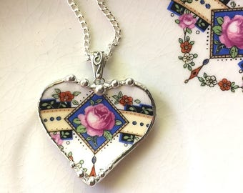 Broken china jewelry - recycled china - 1920's rose heart pendant - pink roses -  broken china jewelry heart pendant necklace