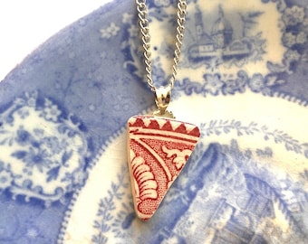 Broken china jewelry - china pendant necklace with chain - antique china shard pendant - red white transferware - made from a broken plate