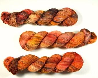 Hand Dyed Sock Yarn - Sock Weight Superwash Merino Wool Yarn - Potluck OOAK - Speckled Apricot Pink Fingering Knitting Yarn, Indie Dyed