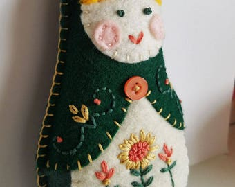 Handmade Felt Matryoshka Doll - Embroidered Forest Sage Green Coral - Yellow Hair - Green Eyes - Heirloom Style - Russian Baby Doll - OOAK