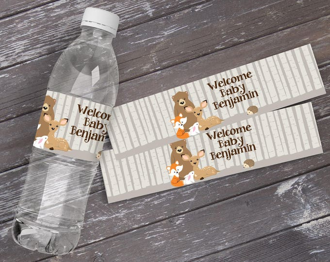 Woodland Water Bottle Labels - Baby Shower, Woodland Animals, Forest Friends | EDITABLE Text - INSTANT Download Printable PDF