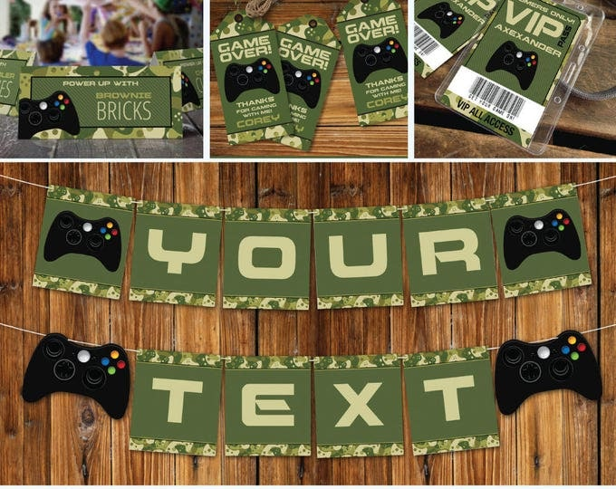Video Game Party Printable Decor, Gamer Birthday, Video Game Collection, Camo Pattern | INSTANT Download Printable PDFs