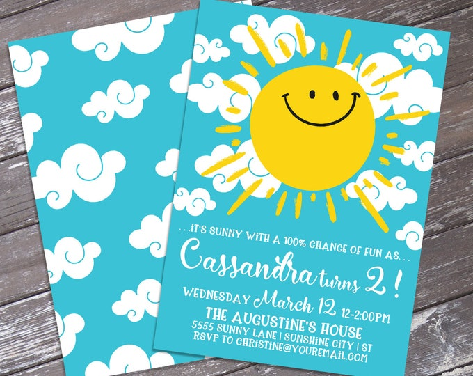 Sunshine Birthday Invitation - Sunny with a 100% Chance, You Are My Sunshine, Sunny Theme | DIY Editable Text INSTANT DOWNLOAD Printable