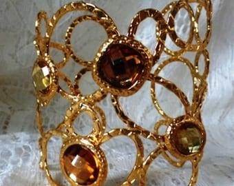 Vintage Amber Cuff Bracelet