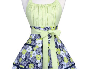 Flirty Chic Retro Apron in Womens Cute Indigo Blue and Lime Green Modern Floral with Personalized Monogram Embroidery Option