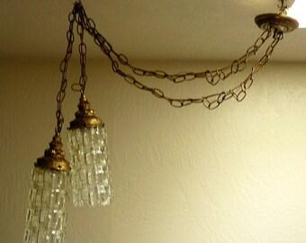 Hollywood Regency Swag Pendant Lamp Double Gold Ormolu & Glass Two Lights Viuntage