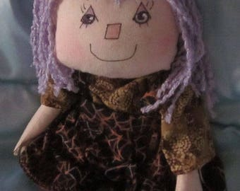 JKW Halloween Handmade Raggedy Ann CobWeb Gothic Dress Purple WiTcH in Training DOLL with Bloomers