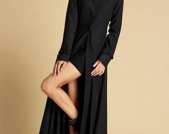 Maxi coat, winter coat, wool coat, womens coats, black coat, long trench coat, outwear dress, designer coat, handmade coat, gift ideas (355)