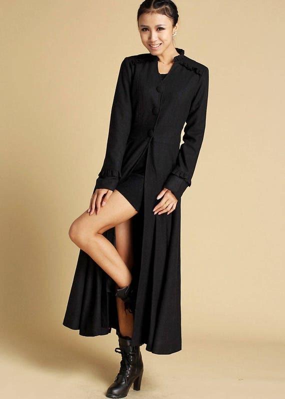 Long Black Coat Winter Coat Maxi Coat Long Wool Coat