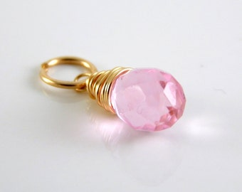 Pink Quartz Charm Wire Wrapped in 14k Gold Fill - AdoniaJewelry