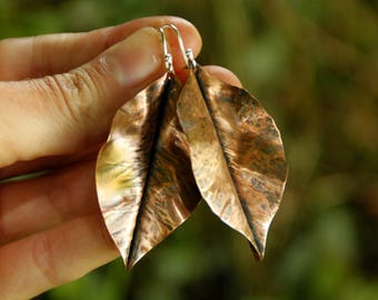 Druid earrings - copper leaf - fold formed - sterling silver ear wires - woodland - autumn leaves - artisan - uk