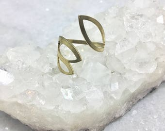 Brass Leaf Outline Ring | Adjustable Ring | One Size Fits Most | Nature Ring