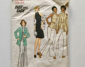Vintage Sewing Pattern, Women's 70's Mostly Uncut, Butterick 3437, Sweater, Dress, Top, Pants (L)