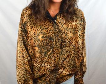 RAD Vintage 80s Silky Reversible Tiger Jacket Coat