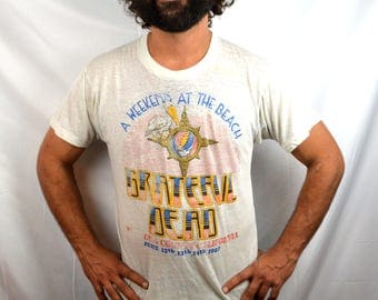 RARE 80s 1987 Distressed Grateful Dead Ventura County California Tee Shirt Tshirt - Steal Your Face