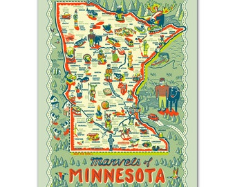 Minnesota Poster, Marvels of Minnesota Poster, Minnesota Map Poster, Map Gift Wrap, Paul Bunyan, Gift Wrap, Paper Goods