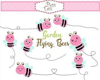 ON SALE Pink Bee Clip Art _ Flying Bee Clip Art,Bumble Bee Clipart,Bees Digital Clip Art,printable,scrapbook,Garden, instant download clip a