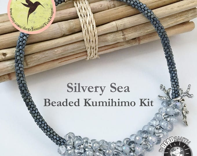 Silvery Sea Fully Beaded Kumihimo Necklace Kit, Tutorial Included, Sterling Silver Coral Branches